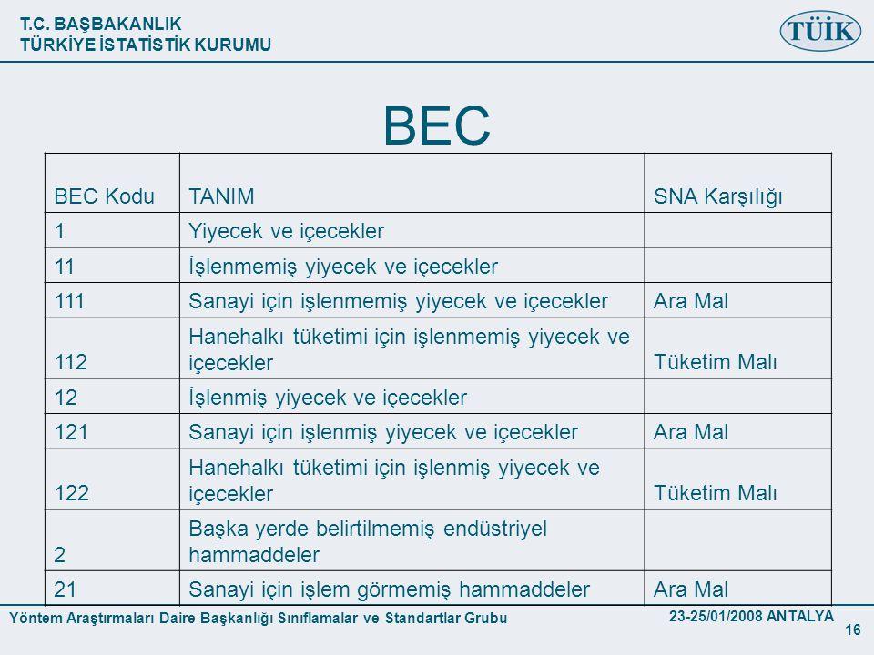 BEC BEC Kodu TANIM SNA Karşılığı 1 Yiyecek ve içecekler 11
