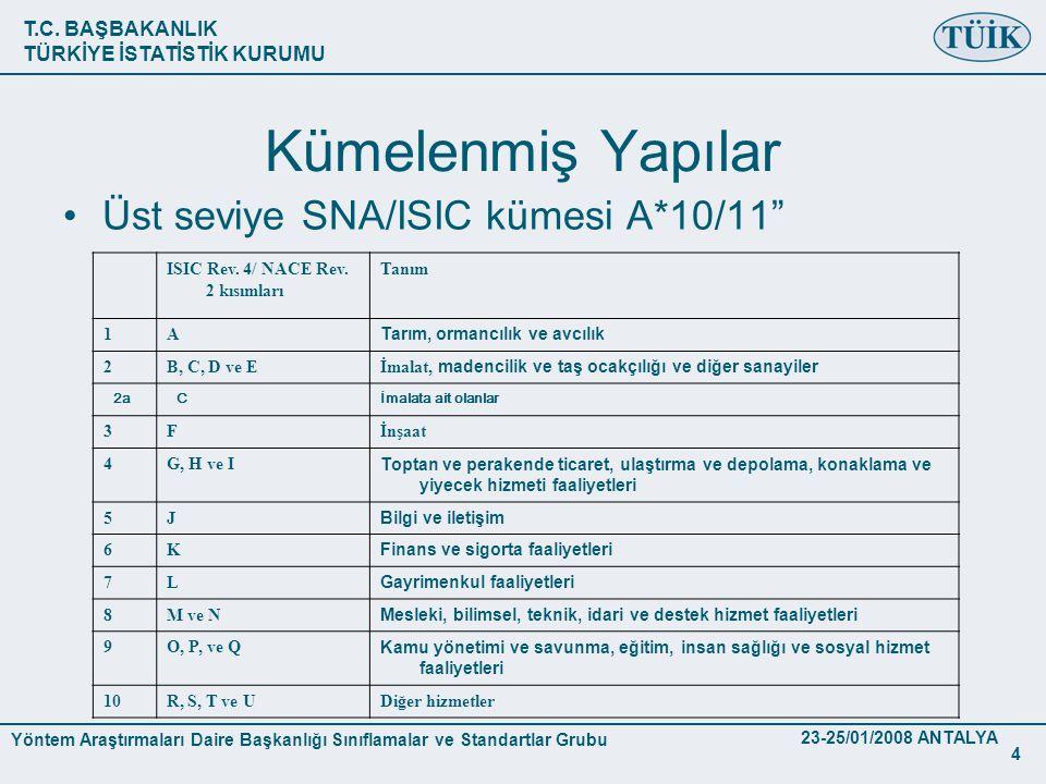 Kümelenmiş Yapılar Üst seviye SNA/ISIC kümesi A*10/11