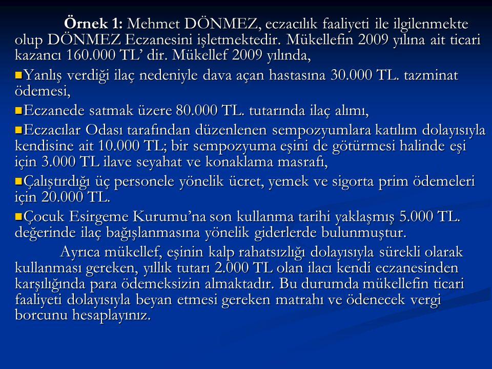 Örnek 1: Mehmet DÖNMEZ, eczacılık faaliyeti ile ilgilenmekte olup DÖNMEZ Eczanesini işletmektedir. Mükellefin 2009 yılına ait ticari kazancı 160.000 TL' dir. Mükellef 2009 yılında,
