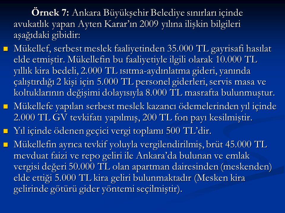 Örnek 7: Ankara Büyükşehir Belediye sınırları içinde avukatlık yapan Ayten Karar'ın 2009 yılına ilişkin bilgileri aşağıdaki gibidir: