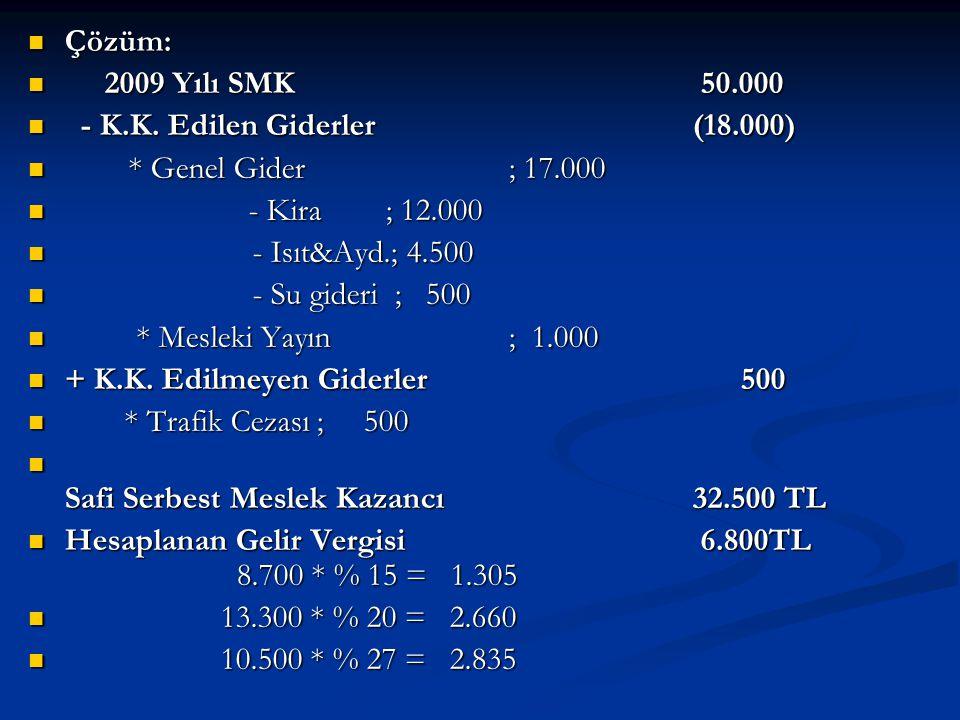 Çözüm: 2009 Yılı SMK 50.000. - K.K. Edilen Giderler (18.000) * Genel Gider ; 17.000.