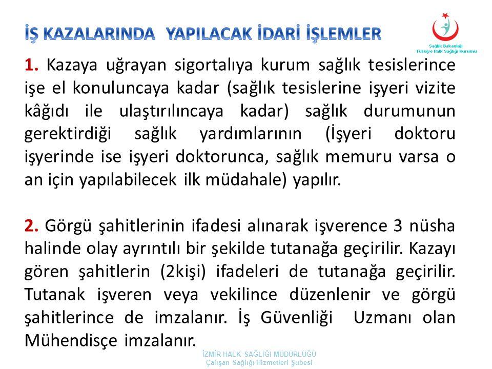 İŞ KAZALARINDA YAPILACAK İDARİ İŞLEMLER