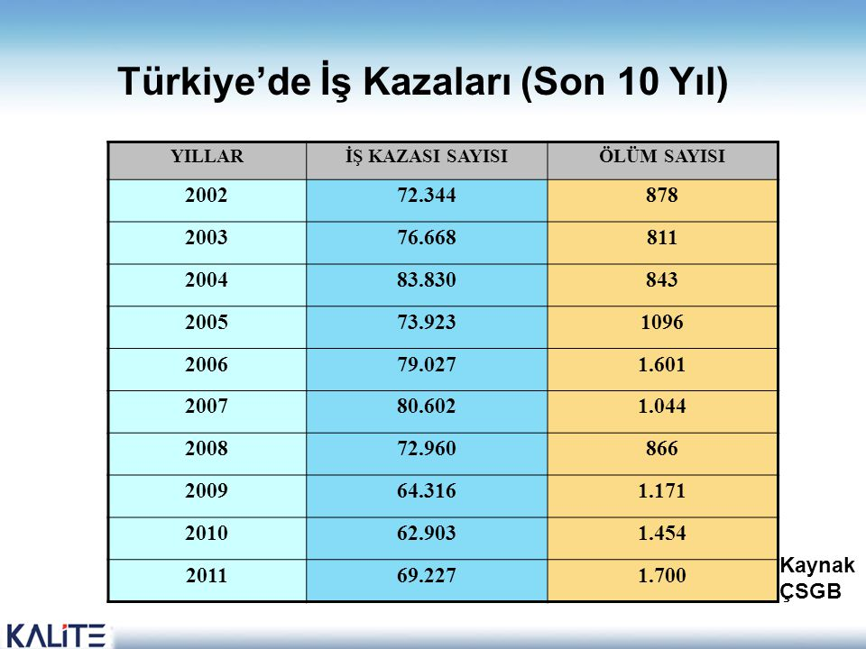 Türkiye'de İş Kazaları (Son 10 Yıl)