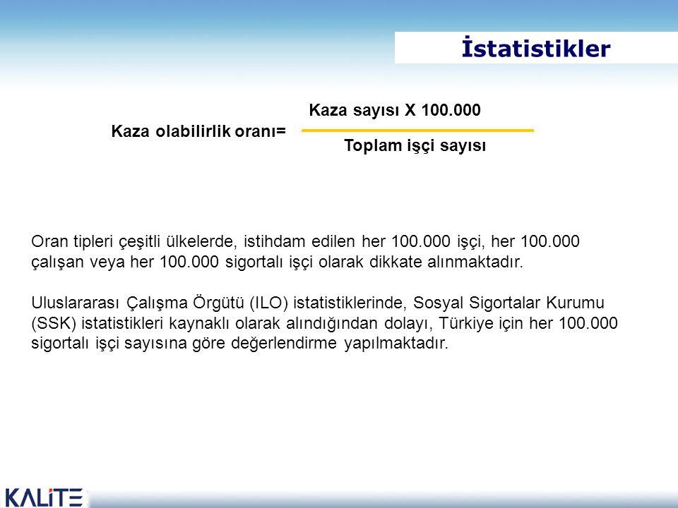 İstatistikler Kaza sayısı X 100.000 Kaza olabilirlik oranı=