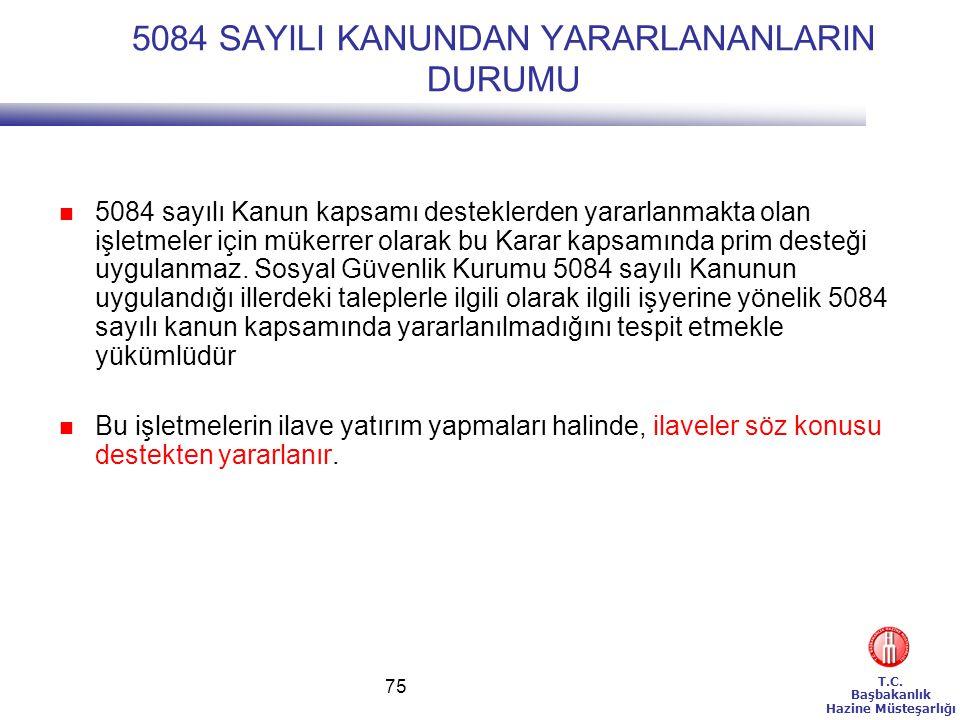 5084 SAYILI KANUNDAN YARARLANANLARIN DURUMU