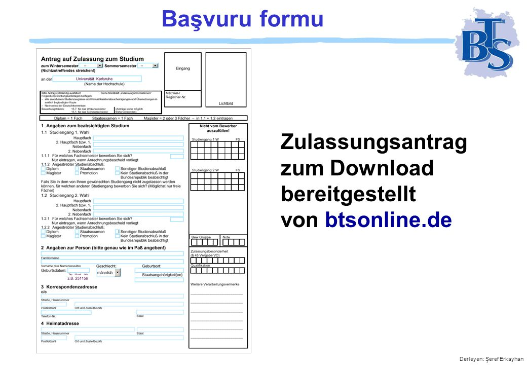 Başvuru formu Zulassungsantrag zum Download bereitgestellt