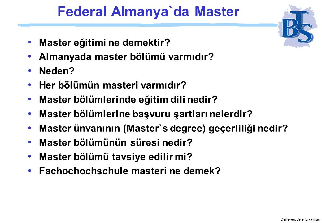 Federal Almanya`da Master