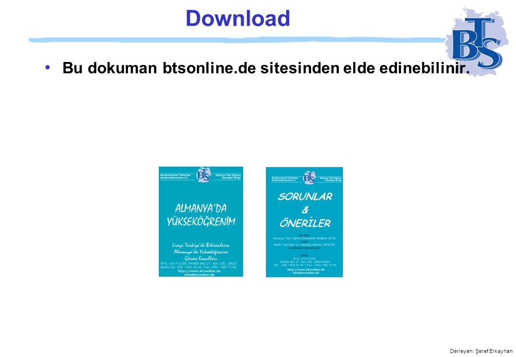 Download Bu dokuman btsonline.de sitesinden elde edinebilinir.