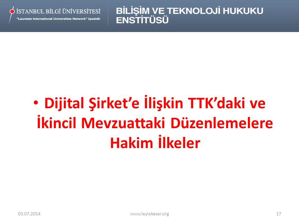 Dijital Şirket'e İlişkin TTK'daki ve İkincil Mevzuattaki Düzenlemelere Hakim İlkeler