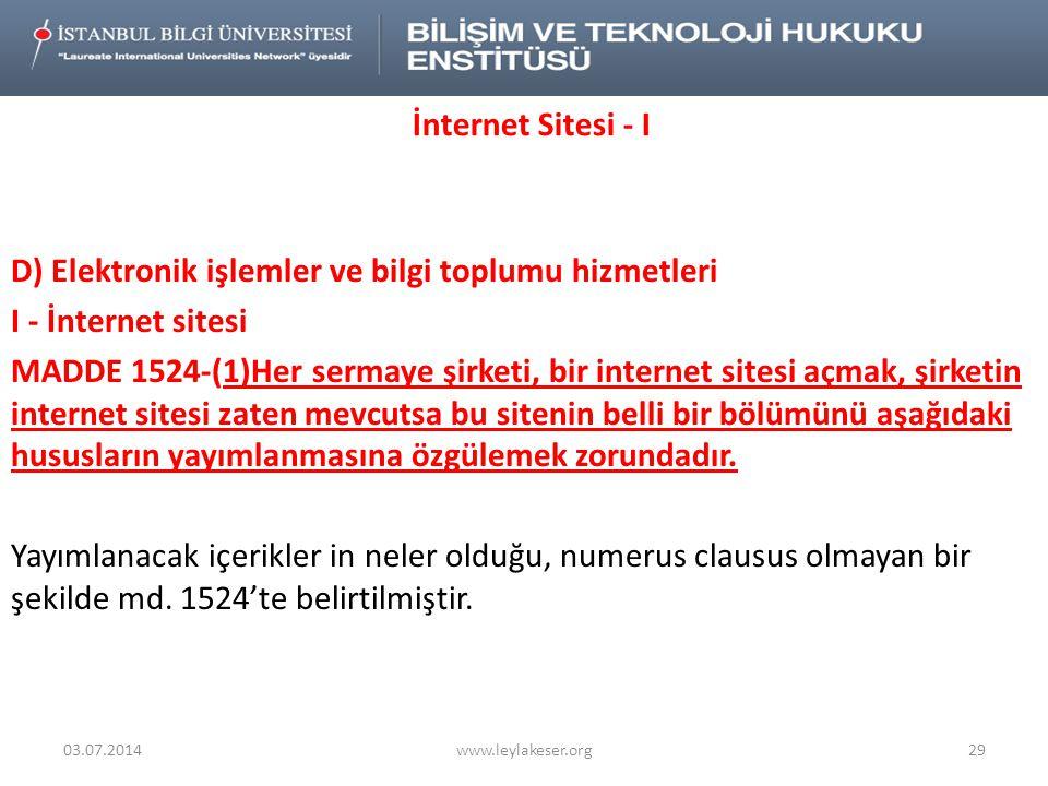 İnternet Sitesi - I