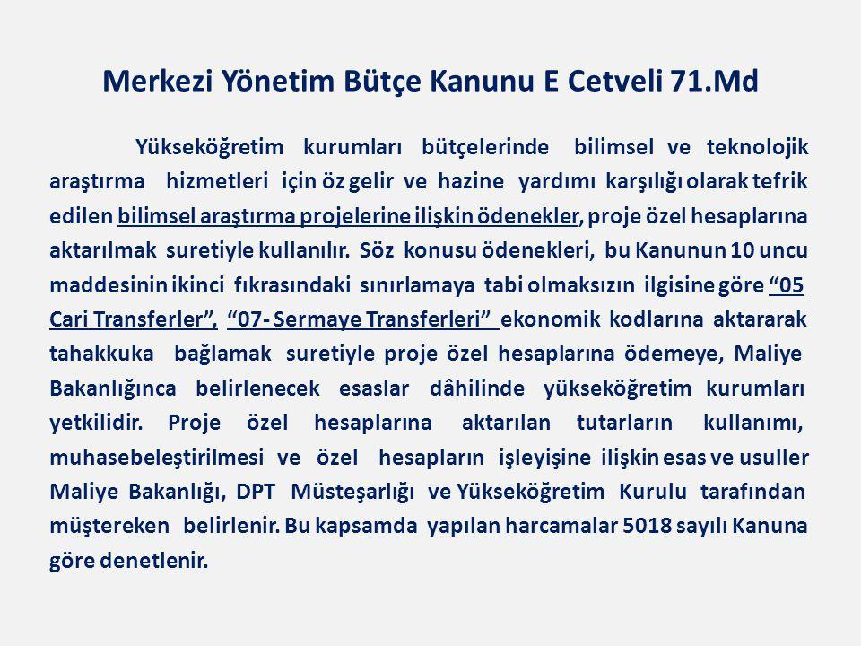 Merkezi Yönetim Bütçe Kanunu E Cetveli 71.Md