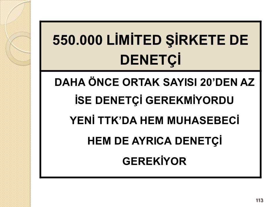 550.000 LİMİTED ŞİRKETE DE DENETÇİ