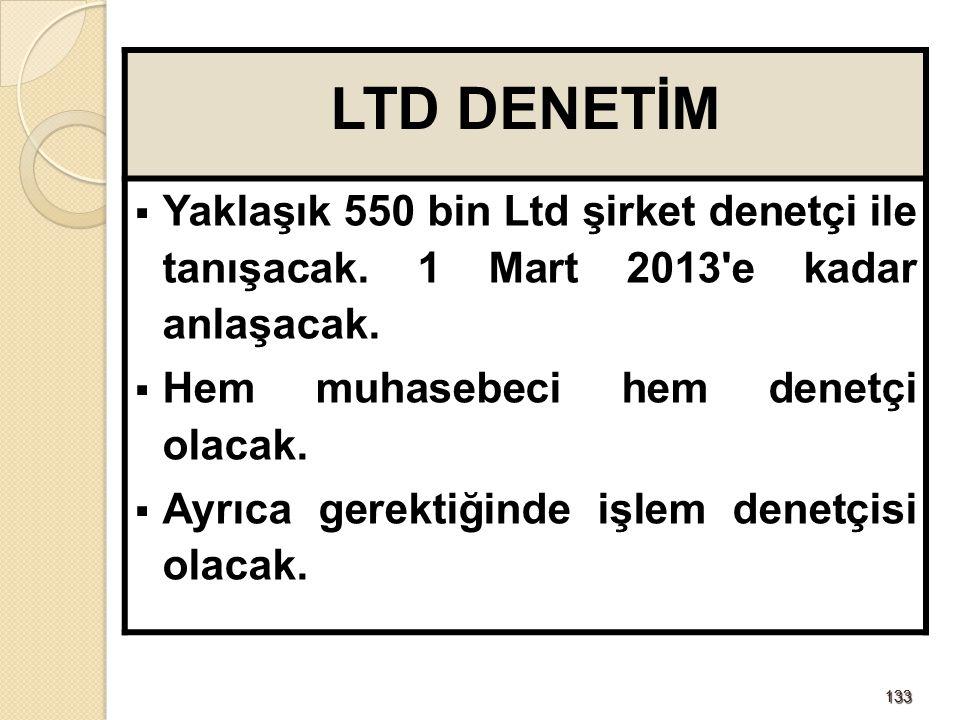 LTD DENETİM Yaklaşık 550 bin Ltd şirket denetçi ile tanışacak. 1 Mart 2013 e kadar anlaşacak. Hem muhasebeci hem denetçi olacak.
