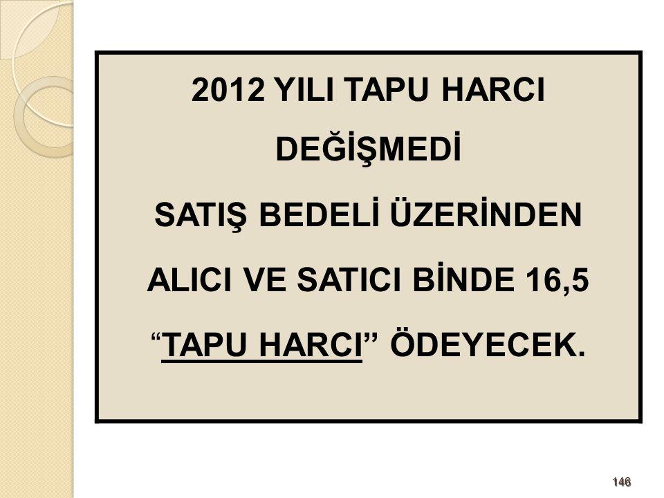 2012 YILI TAPU HARCI DEĞİŞMEDİ SATIŞ BEDELİ ÜZERİNDEN