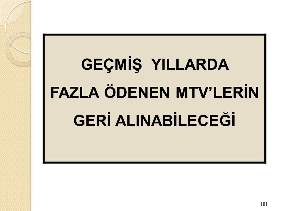 FAZLA ÖDENEN MTV'LERİN GERİ ALINABİLECEĞİ