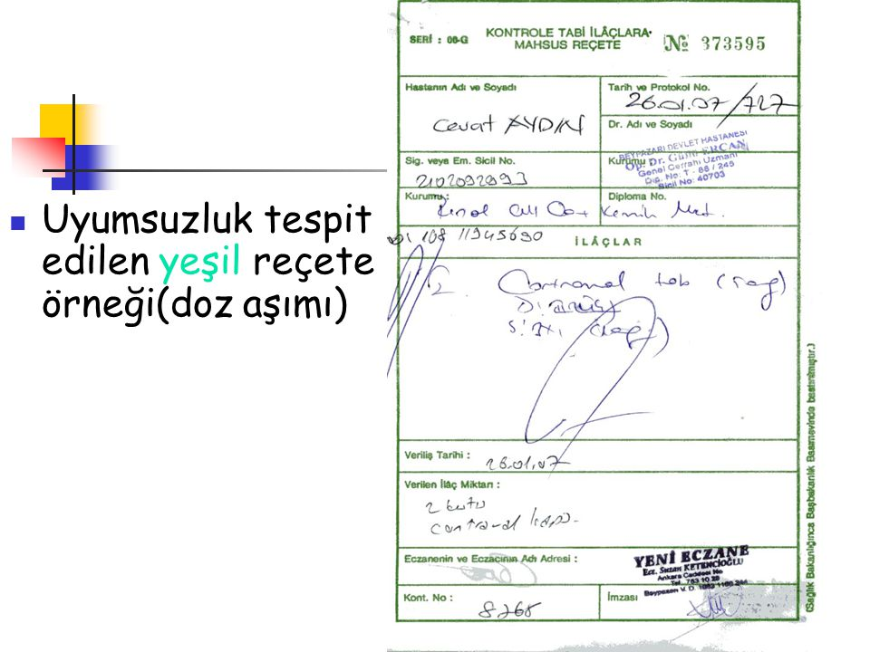 Uyumsuzluk tespit edilen yeşil reçete örneği(doz aşımı)