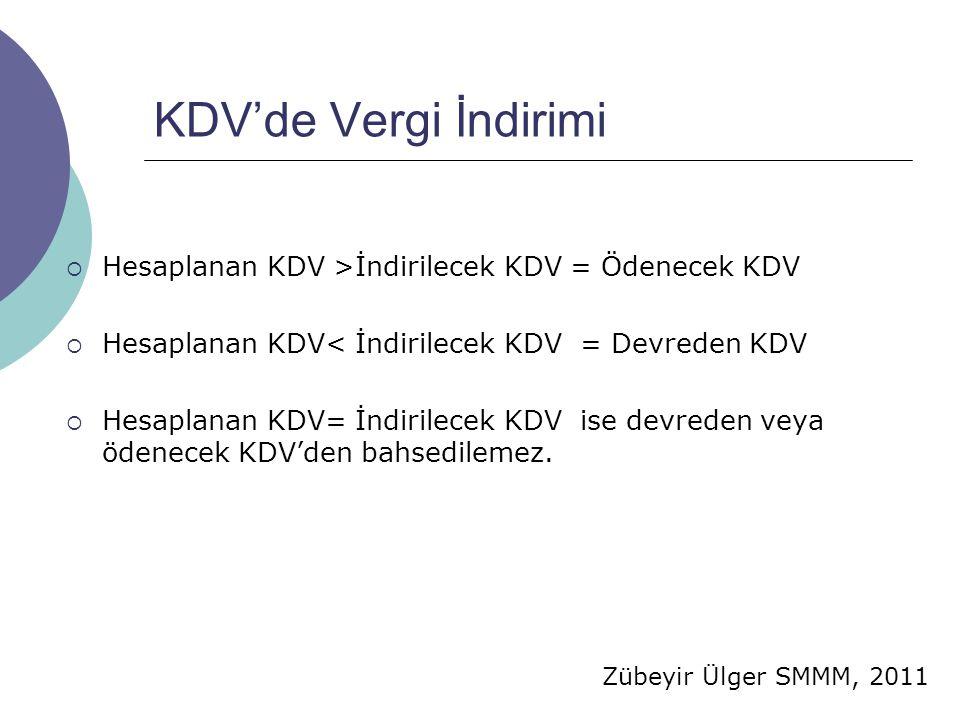 KDV'de Vergi İndirimi Hesaplanan KDV >İndirilecek KDV = Ödenecek KDV. Hesaplanan KDV< İndirilecek KDV = Devreden KDV.