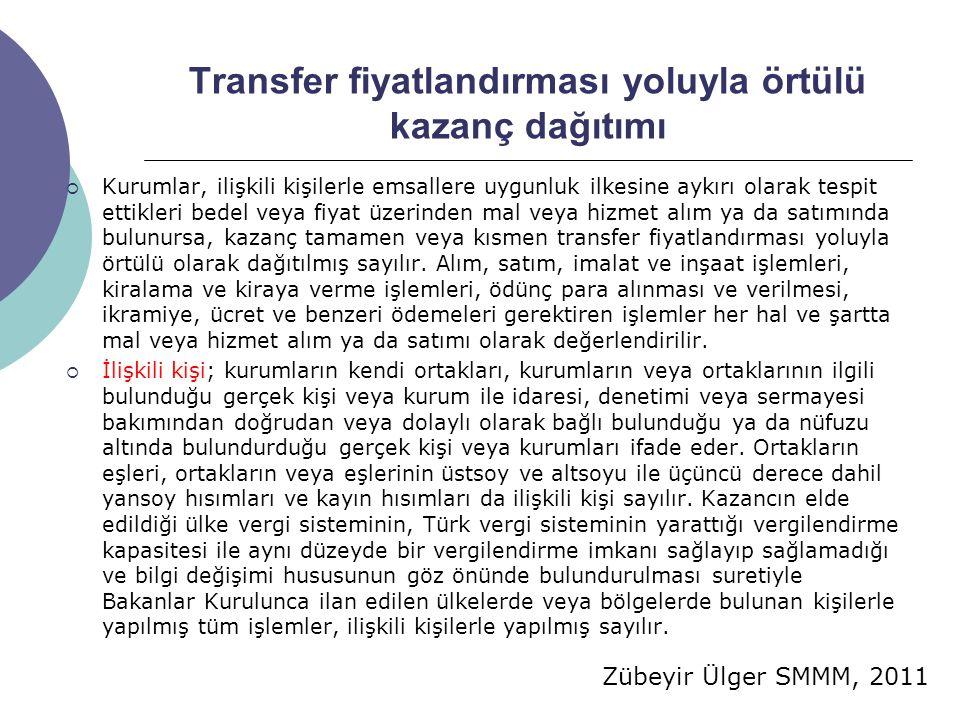 Transfer fiyatlandırması yoluyla örtülü kazanç dağıtımı