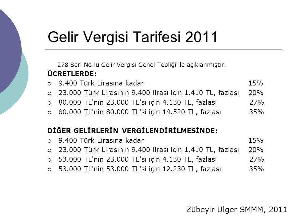 Gelir Vergisi Tarifesi 2011