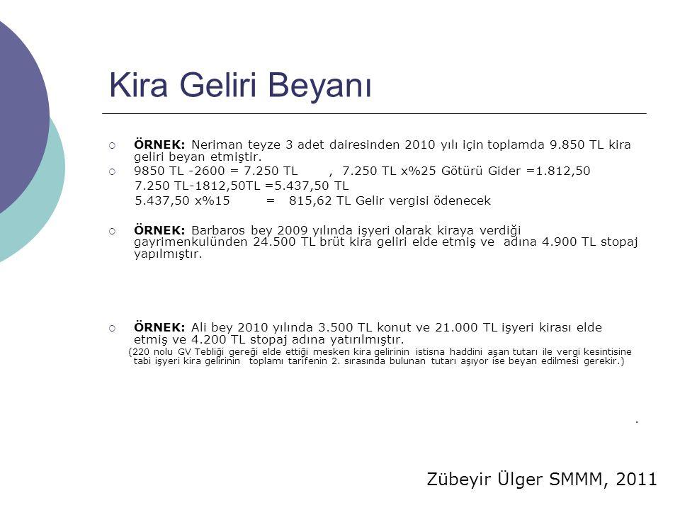 Kira Geliri Beyanı ÖRNEK: Neriman teyze 3 adet dairesinden 2010 yılı için toplamda 9.850 TL kira geliri beyan etmiştir.