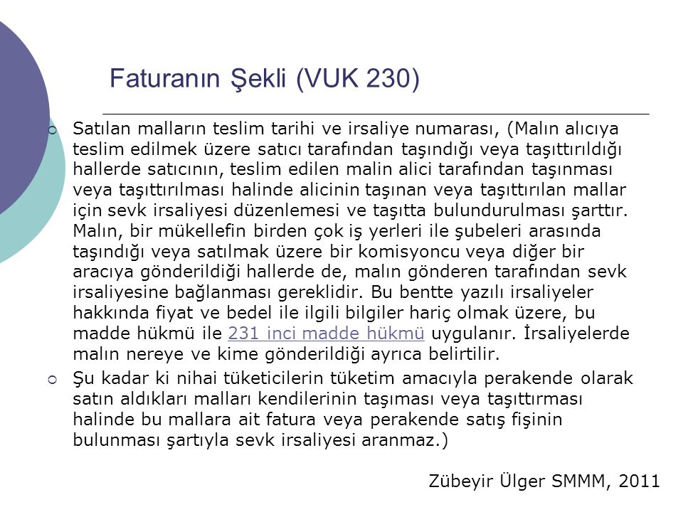 Faturanın Şekli (VUK 230)