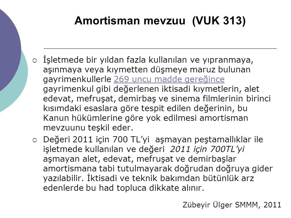 Amortisman mevzuu (VUK 313)