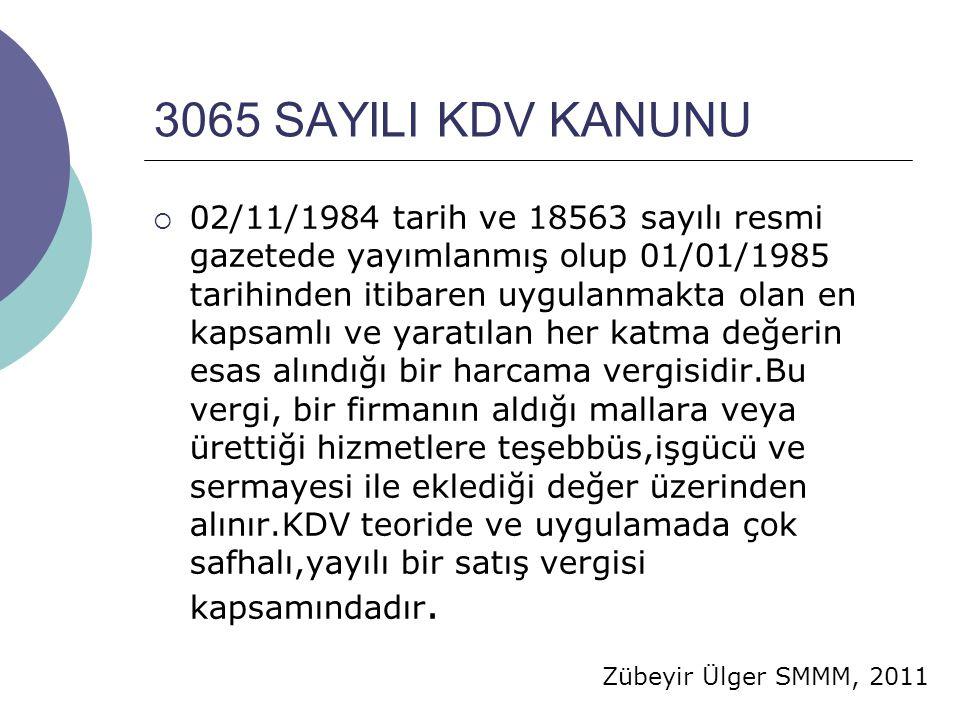 3065 SAYILI KDV KANUNU