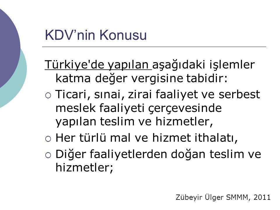KDV'nin Konusu Türkiye de yapılan aşağıdaki işlemler katma değer vergisine tabidir: