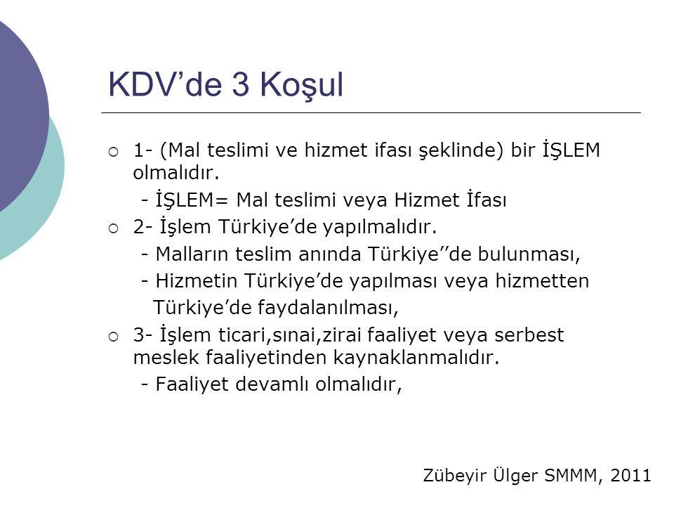 KDV'de 3 Koşul 1- (Mal teslimi ve hizmet ifası şeklinde) bir İŞLEM olmalıdır. - İŞLEM= Mal teslimi veya Hizmet İfası.
