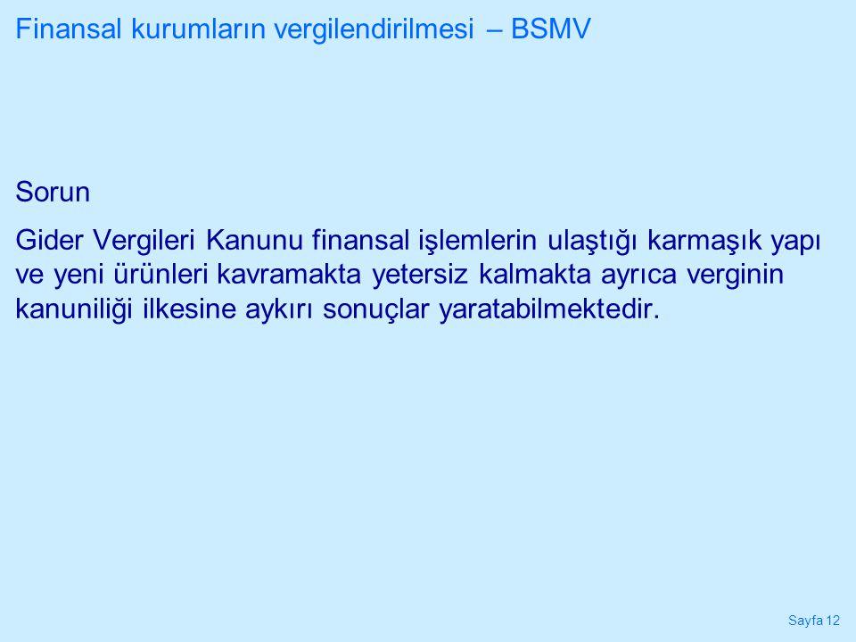 Finansal kurumların vergilendirilmesi – BSMV