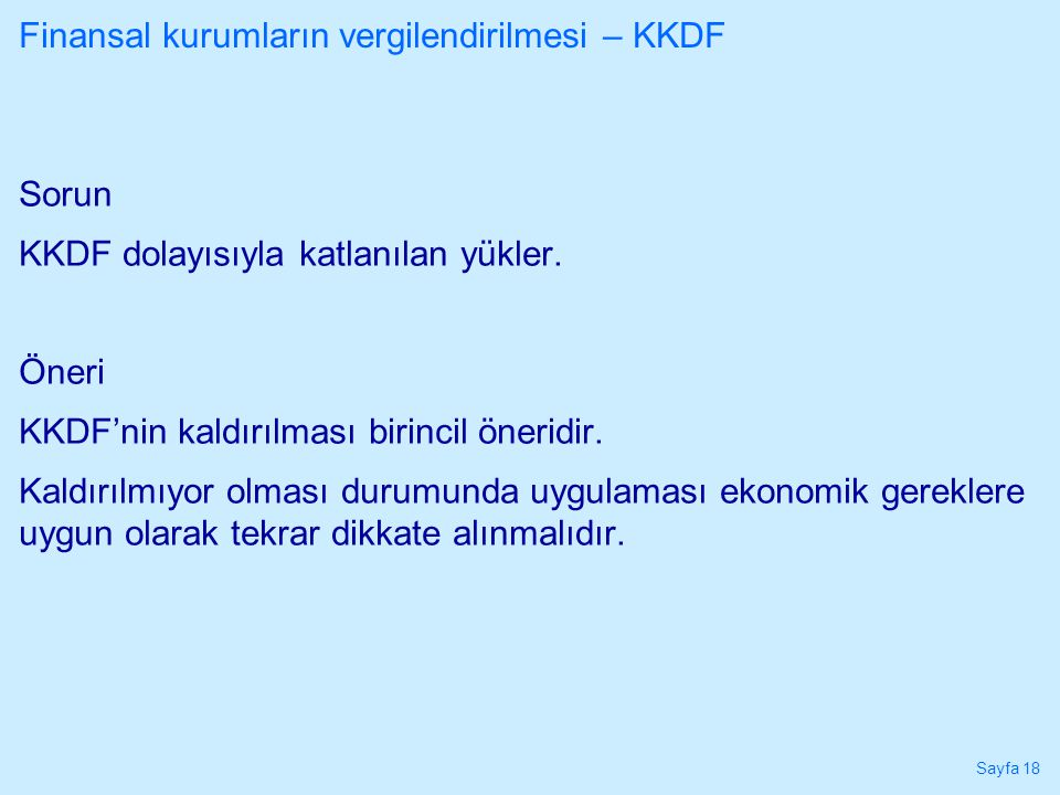 Finansal kurumların vergilendirilmesi – KKDF