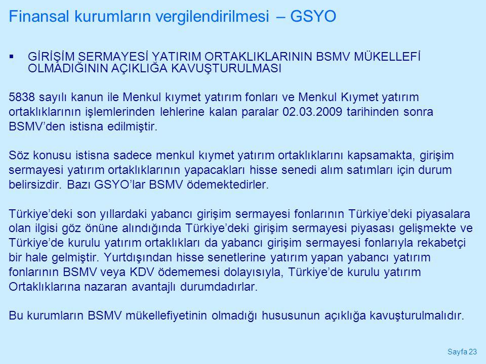 Finansal kurumların vergilendirilmesi – GSYO