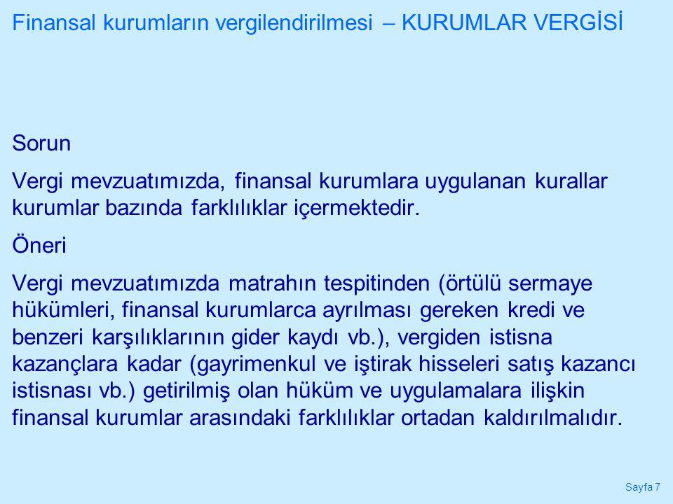 Finansal kurumların vergilendirilmesi – KURUMLAR VERGİSİ