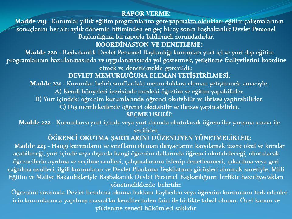 KOORDİNASYON VE DENETLEME: