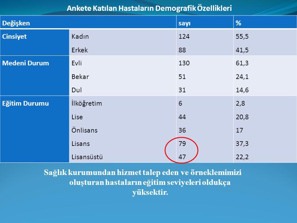 Ankete Katılan Hastaların Demografik Özellikleri