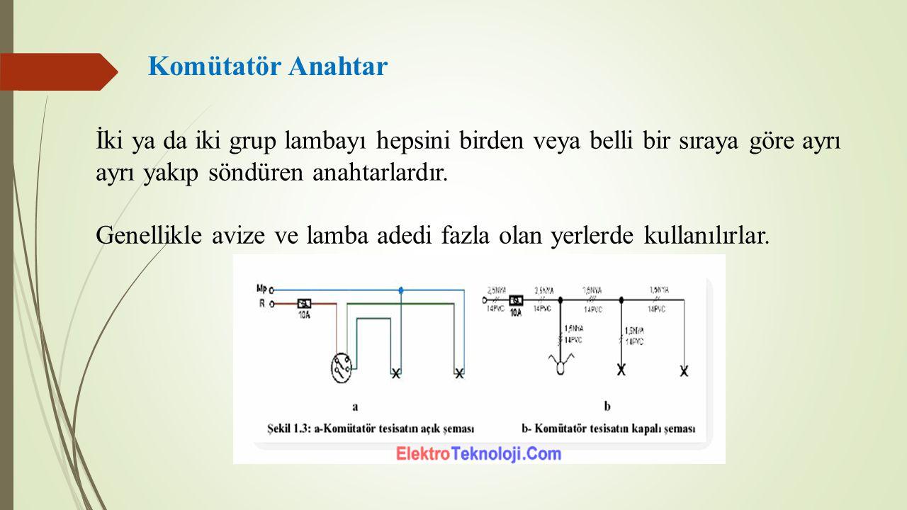 Komütatör Anahtar İki ya da iki grup lambayı hepsini birden veya belli bir sıraya göre ayrı ayrı yakıp söndüren anahtarlardır.