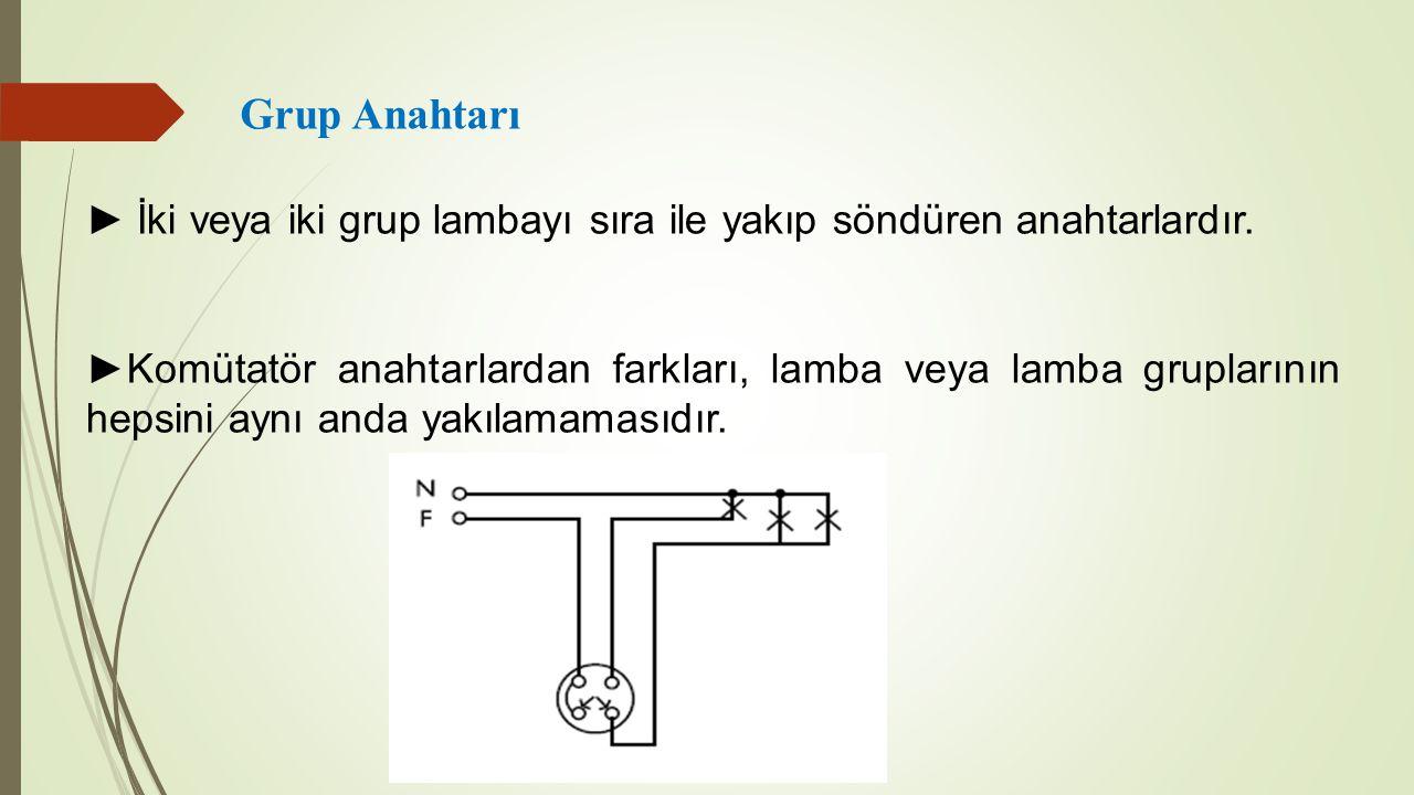 Grup Anahtarı ► İki veya iki grup lambayı sıra ile yakıp söndüren anahtarlardır.