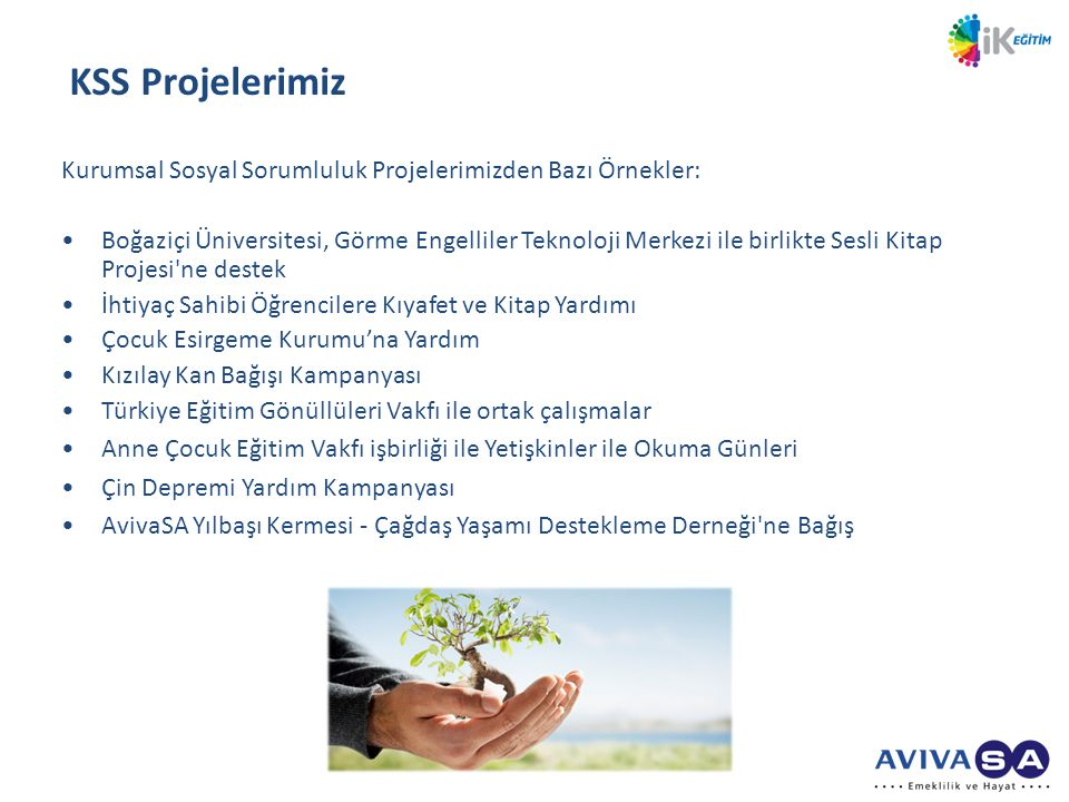 KSS Projelerimiz Kurumsal Sosyal Sorumluluk Projelerimizden Bazı Örnekler: