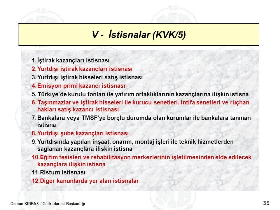 V - İstisnalar (KVK/5) İştirak kazançları istisnası