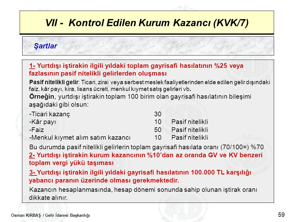 VII - Kontrol Edilen Kurum Kazancı (KVK/7)