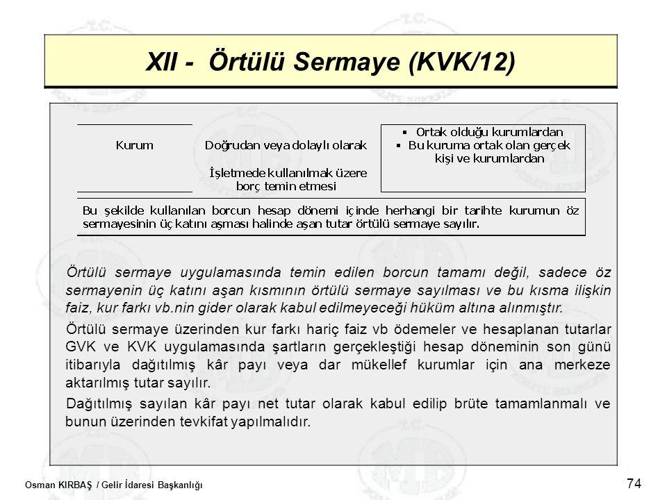 XII - Örtülü Sermaye (KVK/12)