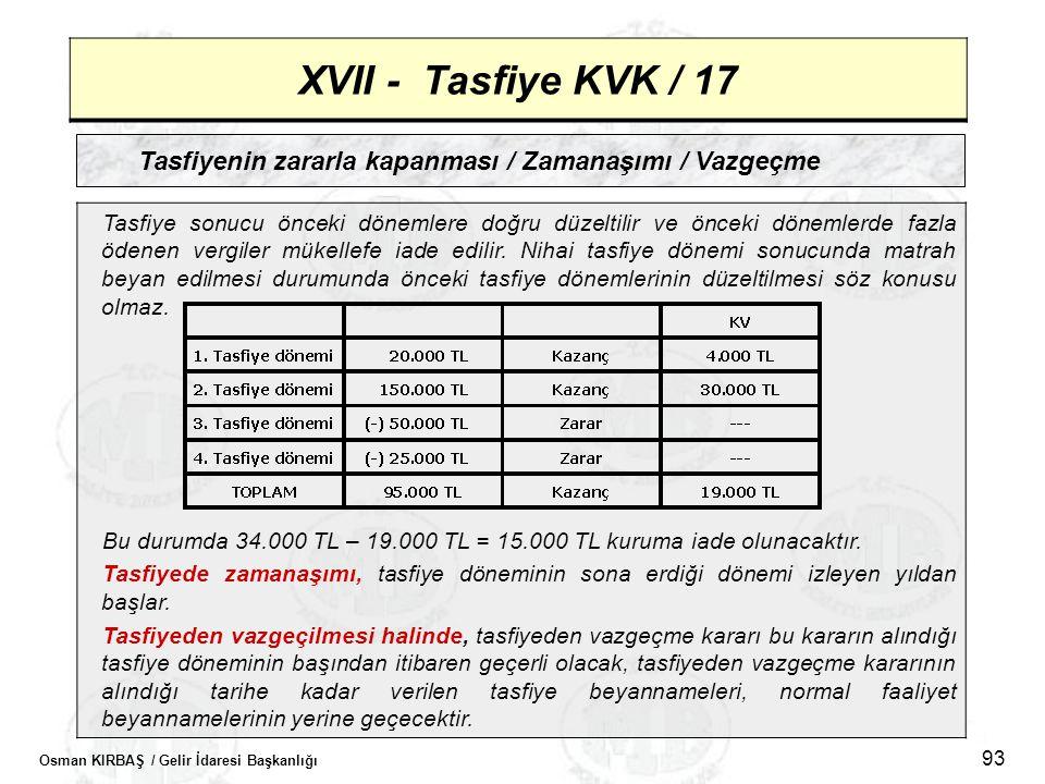 XVII - Tasfiye KVK / 17 Tasfiyenin zararla kapanması / Zamanaşımı / Vazgeçme.