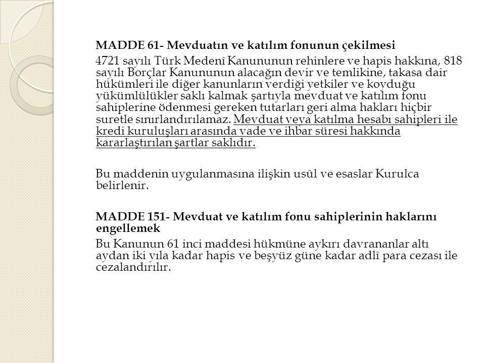 MADDE 61- Mevduatın ve katılım fonunun çekilmesi