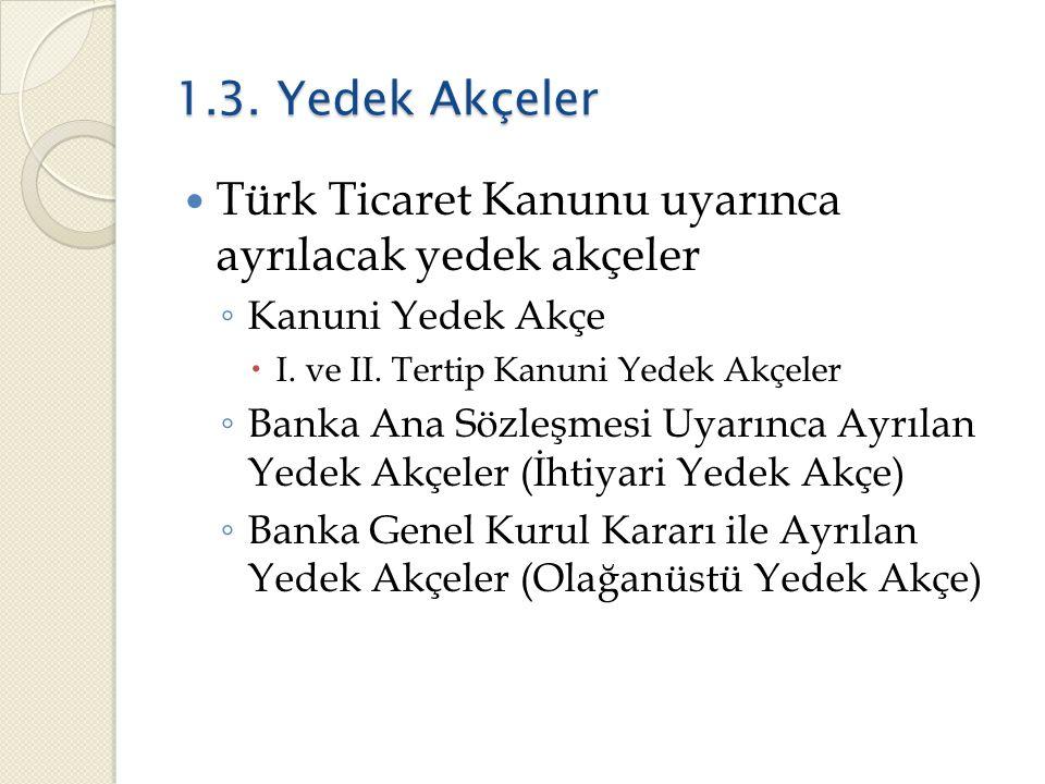 Türk Ticaret Kanunu uyarınca ayrılacak yedek akçeler