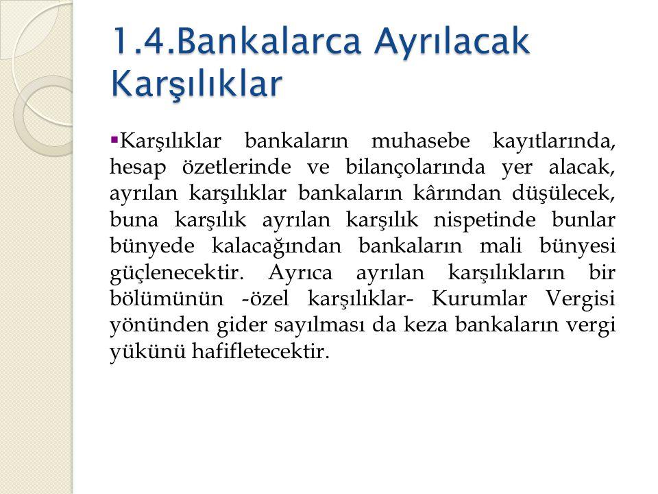 1.4.Bankalarca Ayrılacak Karşılıklar