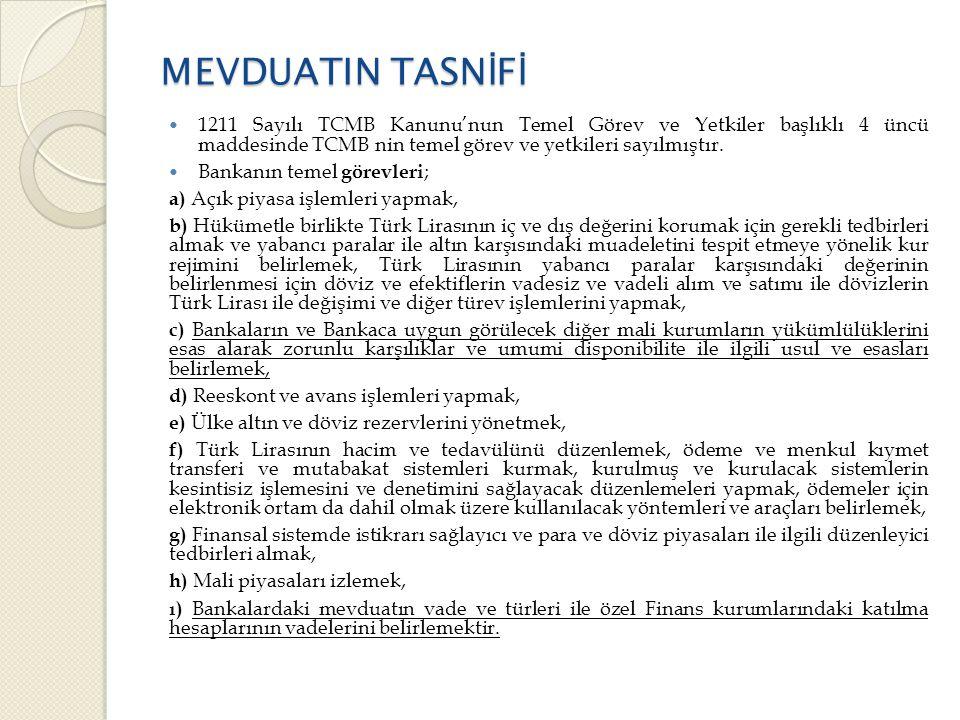 MEVDUATIN TASNİFİ 1211 Sayılı TCMB Kanunu'nun Temel Görev ve Yetkiler başlıklı 4 üncü maddesinde TCMB nin temel görev ve yetkileri sayılmıştır.