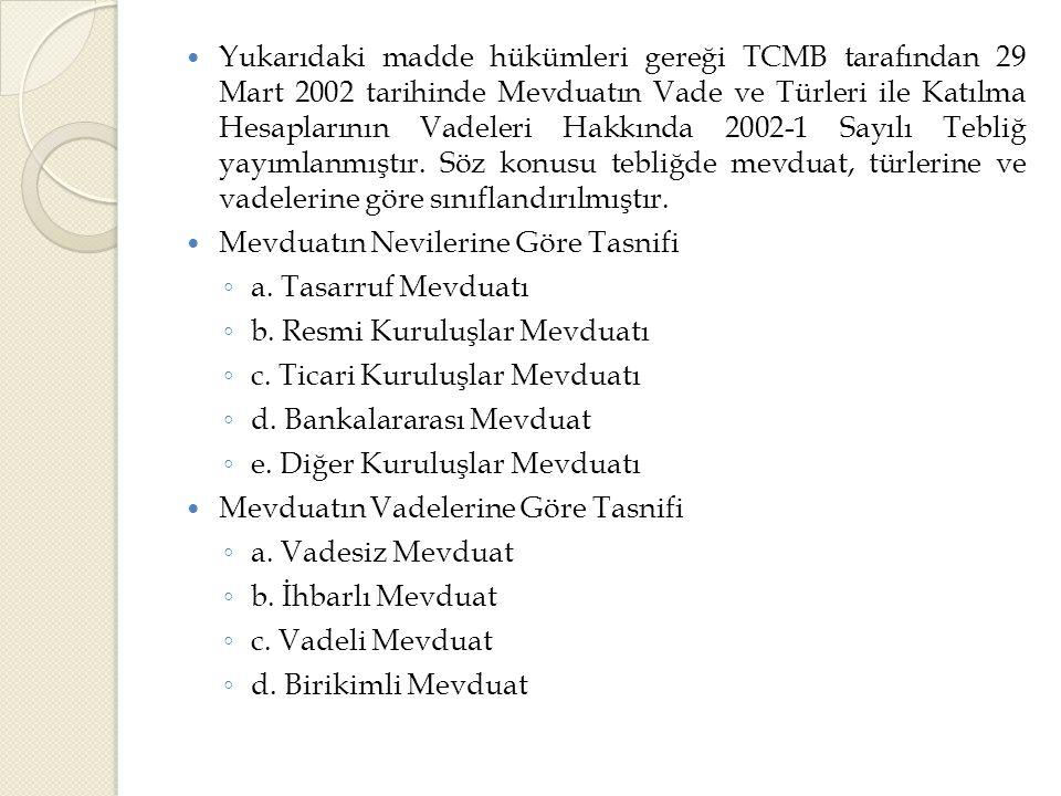 Yukarıdaki madde hükümleri gereği TCMB tarafından 29 Mart 2002 tarihinde Mevduatın Vade ve Türleri ile Katılma Hesaplarının Vadeleri Hakkında 2002-1 Sayılı Tebliğ yayımlanmıştır. Söz konusu tebliğde mevduat, türlerine ve vadelerine göre sınıflandırılmıştır.