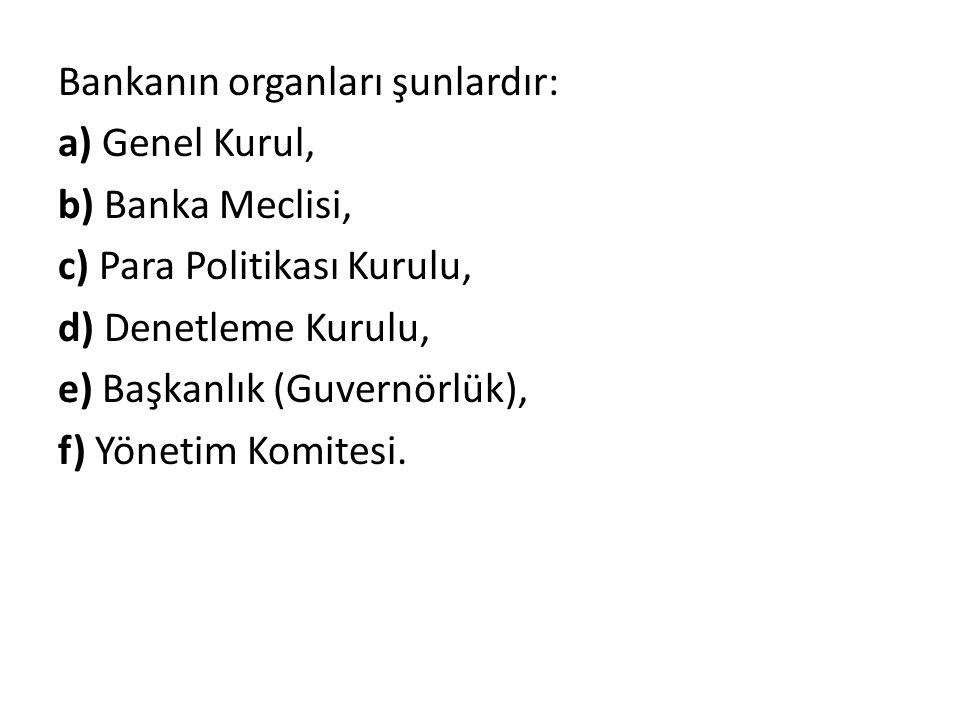 Bankanın organları şunlardır: