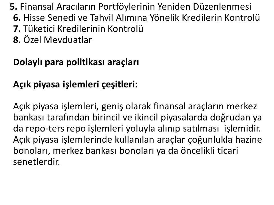 5. Finansal Aracıların Portföylerinin Yeniden Düzenlenmesi 6