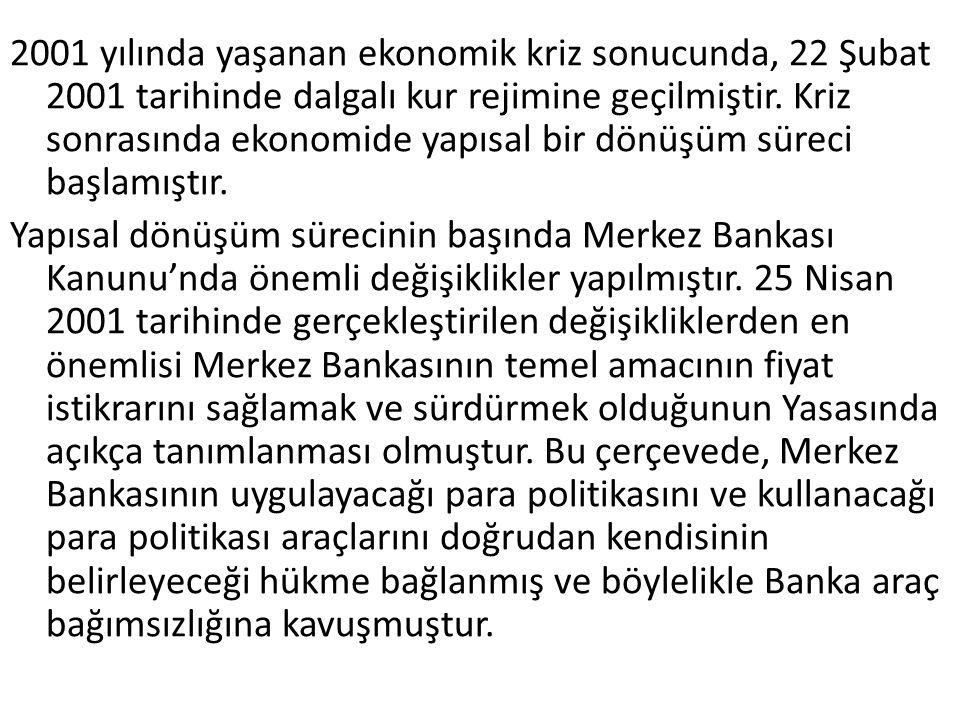 2001 yılında yaşanan ekonomik kriz sonucunda, 22 Şubat 2001 tarihinde dalgalı kur rejimine geçilmiştir.